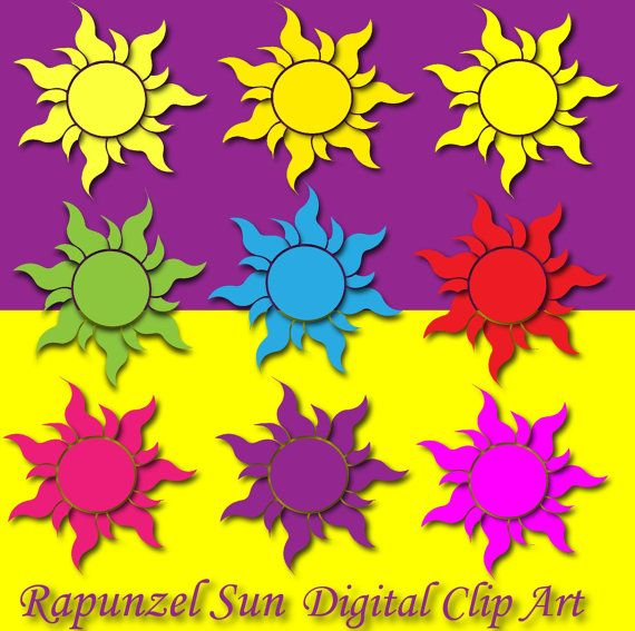 Rapunzel SUN Clipart tangled sun decor Rapunzel birthday by DIGIFT