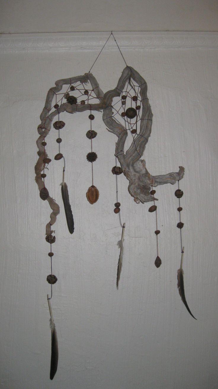 Atrapasueños hecho con una raíz de playa, con semillas de pino (Pinus lambertiana), de roble (Quercus petraea), y de jacarandá (Jacaranda mimosifolia). Decorado con plumas de gaviota (Larus smithsonianus).