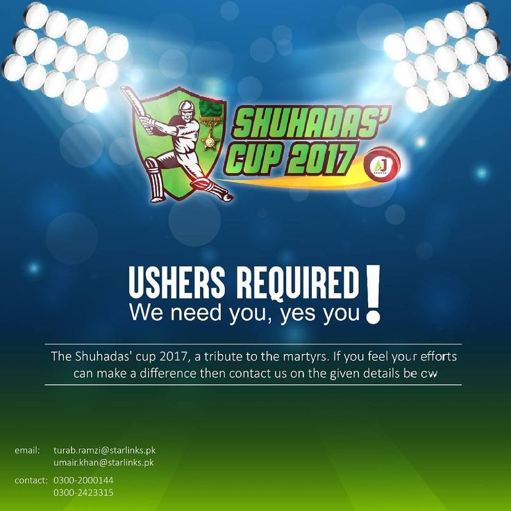 It's time to give back to your country. Let's take a step forward. We are looking for USHERS to be a part of a cricket match The Shuhadas' Cup 2017 which will be played between the celebrities and ex-Pak cricketers and is a tribute to the Martyrs of Pakistan Army.  If you wish to be a part of this on 9th December 2017 then contact us on the details given in the poster now and show your support! #shuhadascup17 #pakshuhadas #SC17 #pakistan #cricketmatch #cricketlovers #teampak #celebrity…