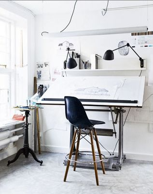 home office: every designer used to have a drafting table... but now they are replaced by computers.