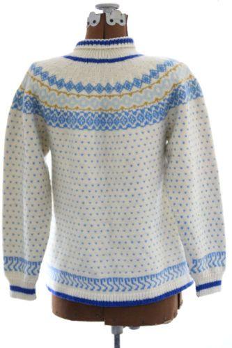 1950s 1960s Vintage Wool Fair Isle Sweater Cardigan Norwegian s M L Cream Blue | eBay