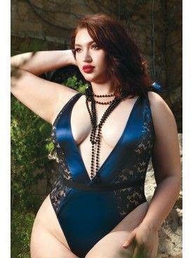 7d74b185fe361 Kellee Moran Blue Satin, Blue Lingerie, Plus Size Lingerie, Metallic Lace,  Metallic