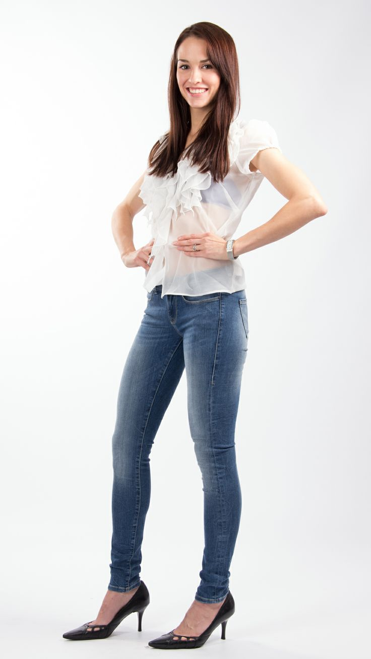Saint Tropez ruffle shirt and Guess jeans
