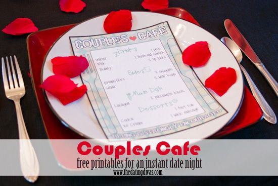 Couple's Cafe- FREE printables for an instant date night.  You're gonna LOVE the flirty prices on this menu!!  www.thedatingdivas.com  #dateideas  #datenight  #dates