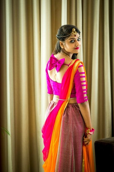 Indian Blouses - Pink Fuchsia Blouse with a Big Bow at Back and Cuts on Sleeves | WedMeGood  #wedmegood #indianbride #southindindian #blouse #pink #indianwedding #orange #saree