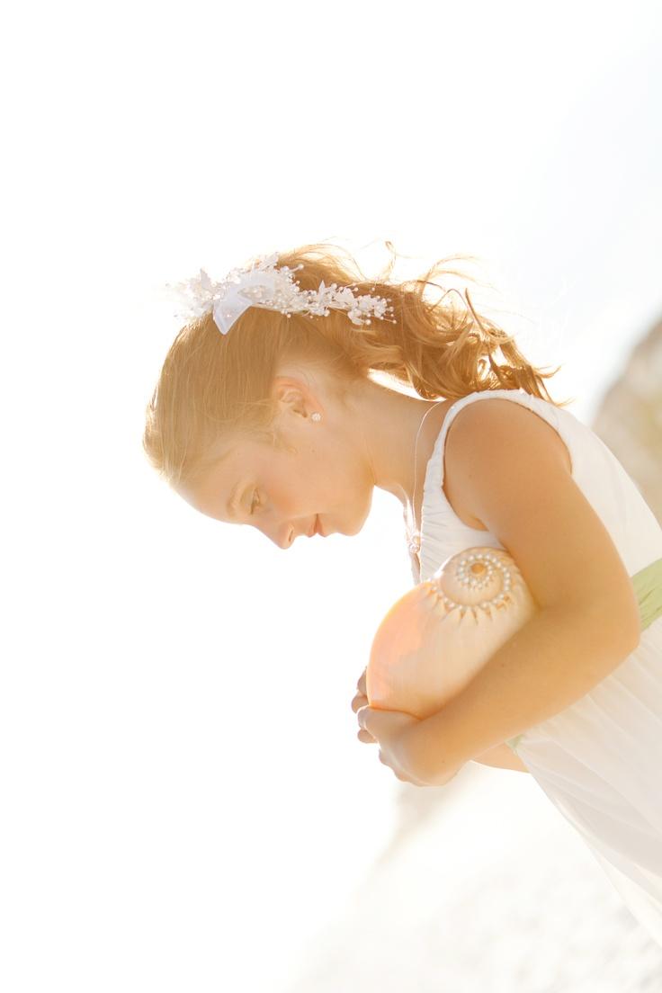 Flower Girl Petal Shell #beachwedding