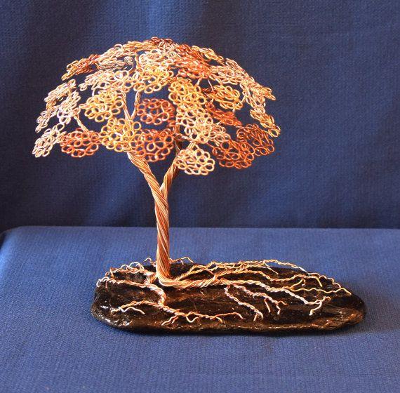 Escultura de madera alambre árbol por TwistedGypsyArt en Etsy