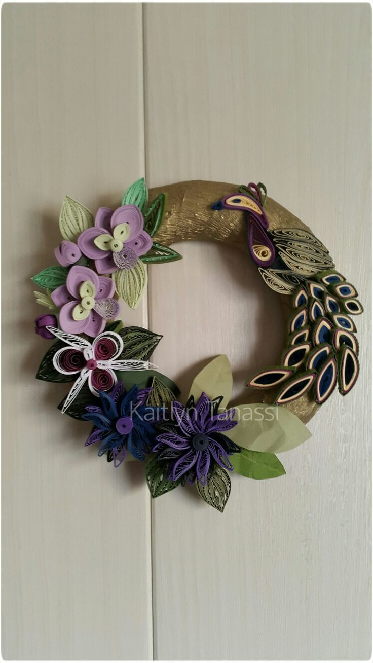 Golden Wreath with Quilled Peacock and Flowers ~ July 2016, handmade by Kaitlyn Tanassi