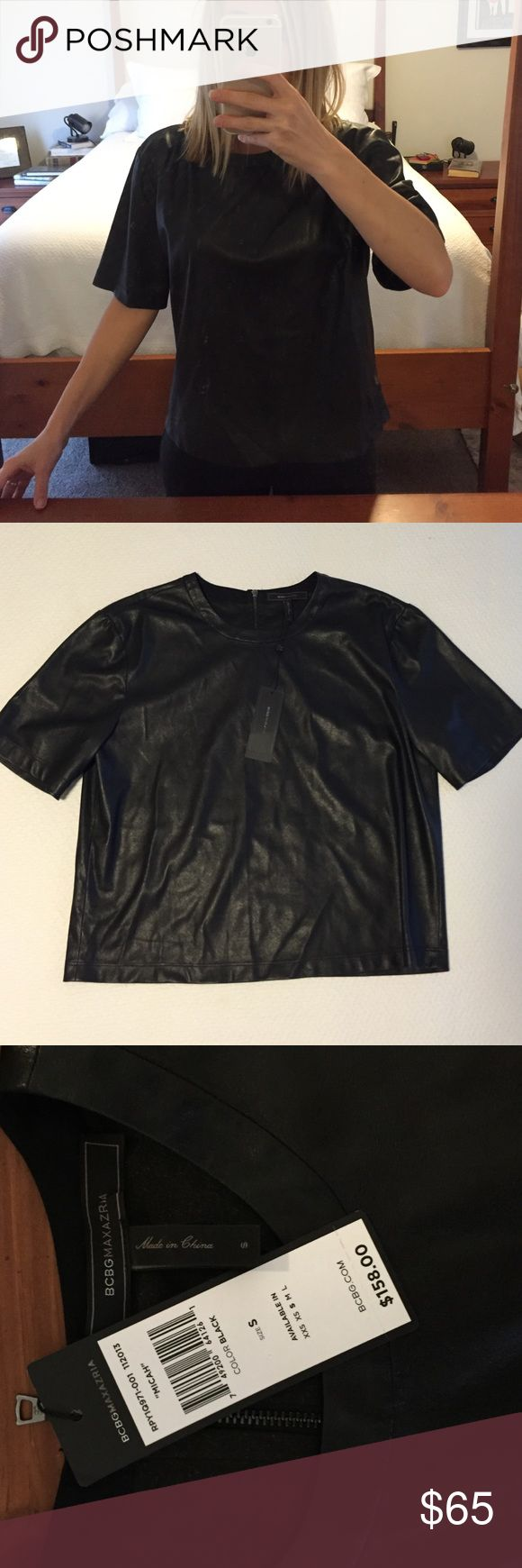 BCBGMAXAZRIA NWT faux leather top Sexy chic at its best! This BCBGMAXAZRIA top has never been worn. It's faux leather and a stylish boxy cut. Style is Micah. BCBGMaxAzria Tops