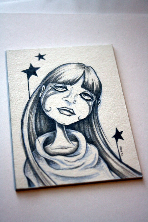 Star Girl ACEO original drawing by bryancollins on Etsy, $25.00