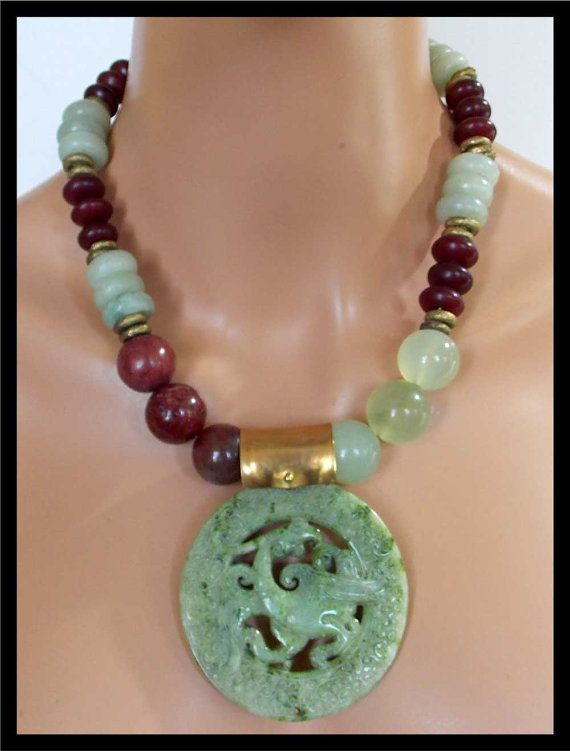 ASIAN DRAGON Handforged Jade Pendant by sandrawebsterjewelry
