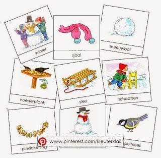 Kleuterklas: Activiteiten met woordkaarten bij het thema 'winter' (met tekeningen van Dagmar Stam)