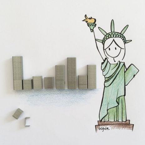 I palazzi di New York sono punti della cucitrice by Virginia Di Giorgio