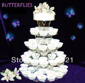 Crystal Clear 5 Tier Circle Butterfly Cupcake Wedding Cake Stand, Acryl  Butterfly Crystal Cake Rack