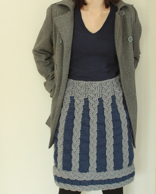 Nordic Winter Skirt with crochet cables by Linda Skuja. This looks like it belongs to @Carly Schoen