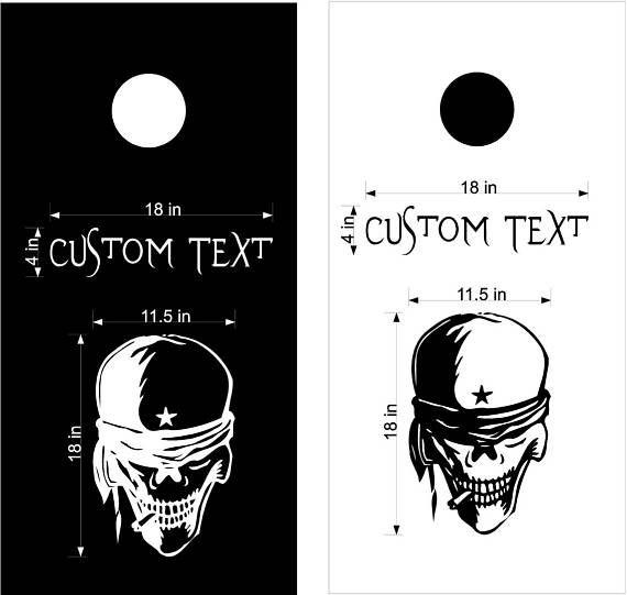Star Skeleton Skulls Jokers Cornhole Board Decals Stickers Graphics Bean Bag Toss Backyard Tailgate Wedding Anniversary Games