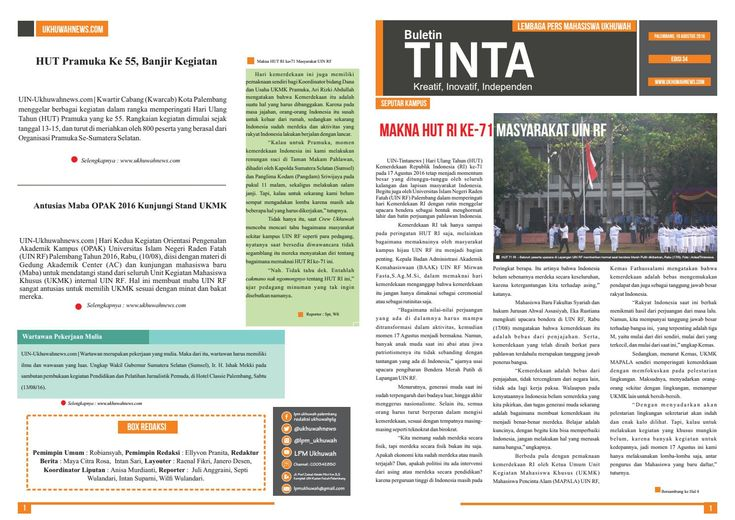 Buletin Tinta Edisi 34, 19 Agustus 2016