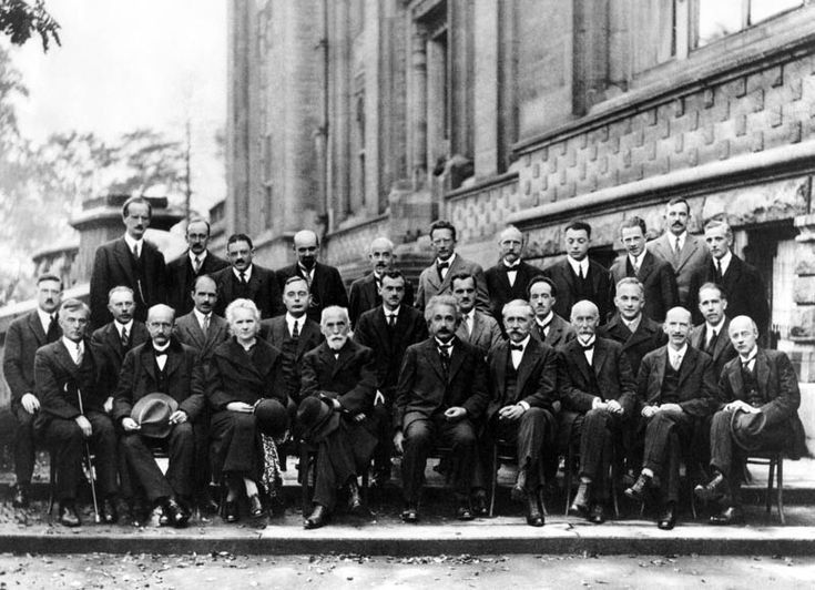 The Solvay International Conference on Electrons and Photons – 1927. Front Row: Irving Langmuir, Max Planck, Marie Sklodowska Curie, Hendrik Lorentz, Albert Einstein, Paul Langevin, Charles Eugène Guye, Charles Thomson Rees Wilson, Owen Willans Richardson. Photograph by Benjamin Couprie