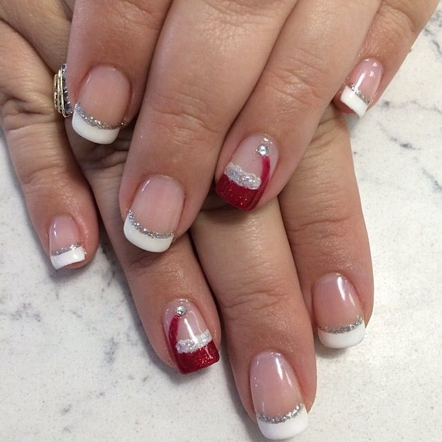 Santa Hat Nails And French With Glitter Accent Line By
