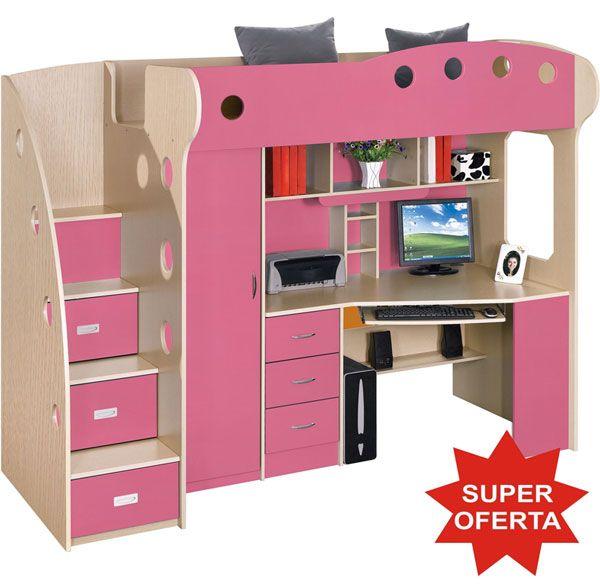 Dormitor copii multifunctional Kring Kul, pat supraetajat, dulapuri, birou roz fetite