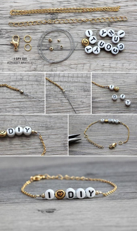 DIY chain alphabet bracelet. Craft ideas from LC.Pandahall.com     #pandahall