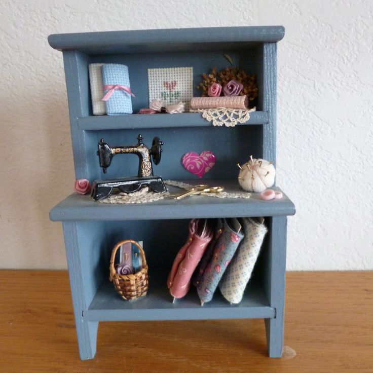 Doll House Sewing Cabinet Singer Sewing Machine Bolts of Fabric Pin Cushion Etc