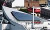 solar panels on roof (san francisco). Solar panels on rooftop (San Francisco). cross. curved roof. Photovoltaic array. Solar array.