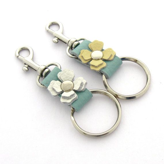 Leather Keychain Spring Flower Key Ring by peaseblossomstudio