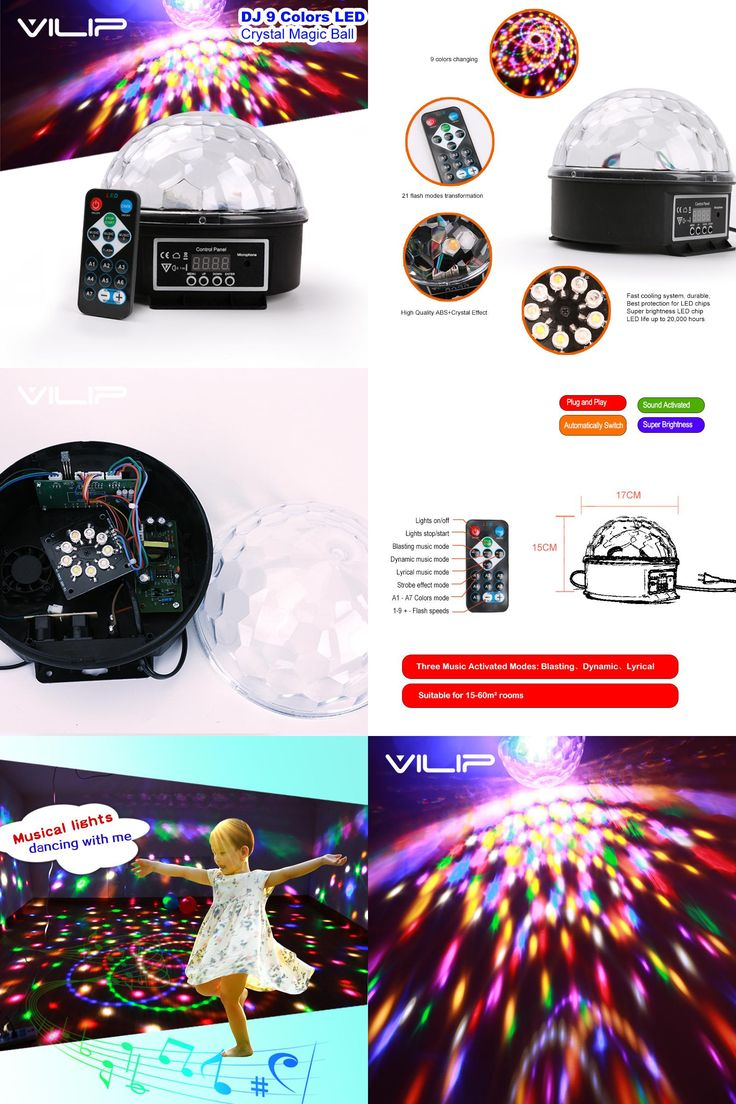 [Visit to Buy] DJ 9 Color LED Sound Activated Party Light Rotating Laser Projector Lamp DMX Control Crystal Magic Ball Disco Light Strobe TOY H #Advertisement