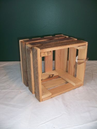 Small Crate Centerpiece : Barnwood rustic wood crate wedding decoration box