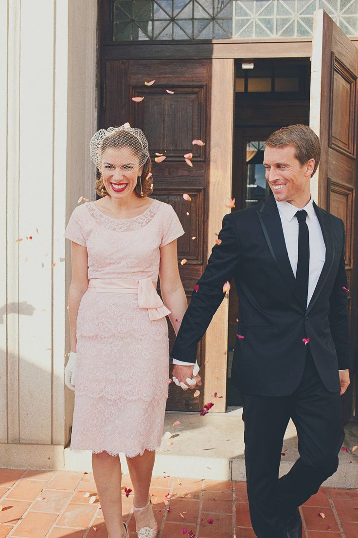 Pink lace wedding dress for City hall weddng gown ideas | itakeyou.co.uk:
