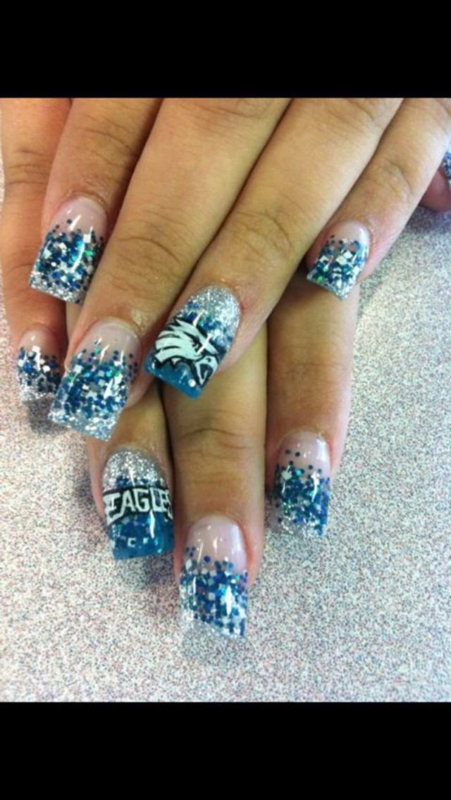 Philadelphia Eagles nails my daughter had done. CrAzY Eagle fan!!!!