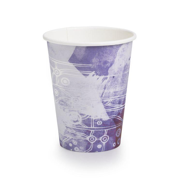 OKYO / BioPak Biocup Art Series coffee cups feat Gaawaa Miyay's Burrul Warrambool print avail now. #ethical #plantbased #renewable #bioplastic #aboriginaldesign