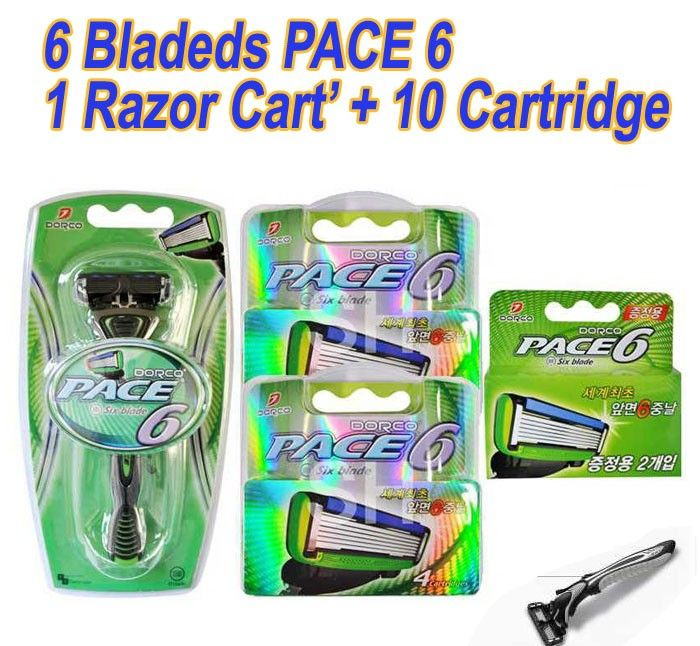 New Dorco 6Bladeds PACE6 1 Razor Cart' + 10 Cartridge Refills Shaving Package  (NEW in sealed Package)