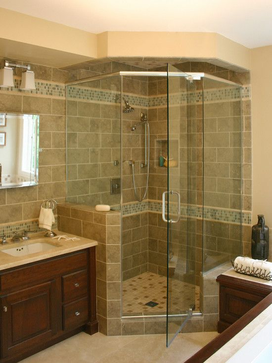 Like the shower with the glass tiles traditional bathroom design pictures remodel decor and - Corner tub bathrooms design ...