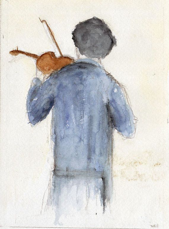 Sherlock and the Violin Fine art print of my original illustration available in various sizes