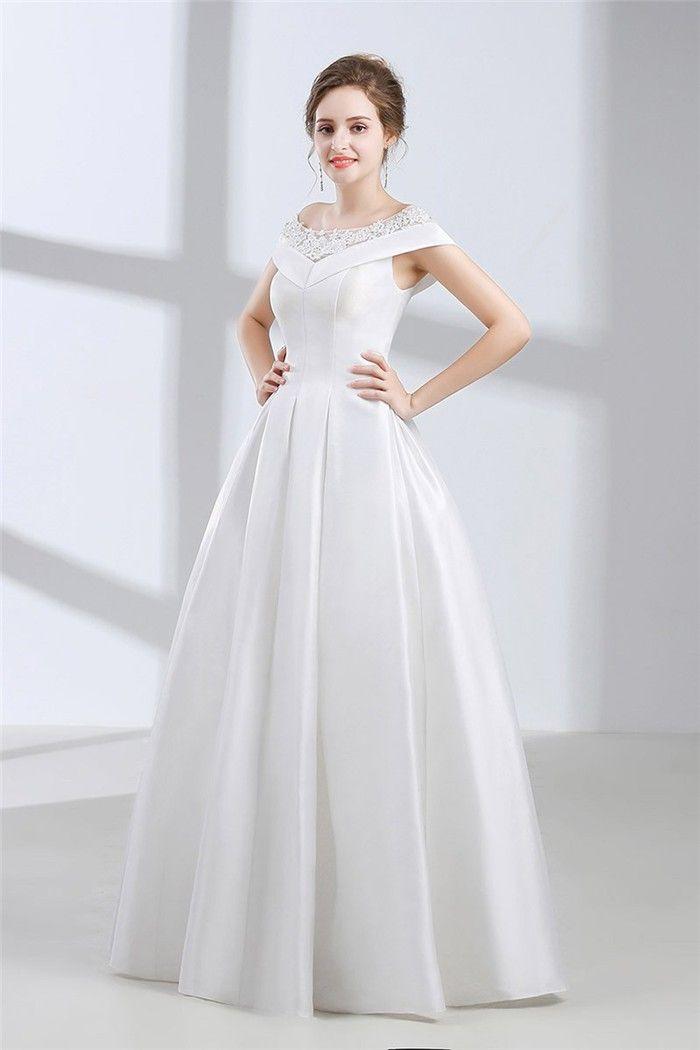 A Line Bateau Neckline Cap Sleeve Corset Back Satin Wedding Dress Without Train Wedding Dresses Satin Wedding Dress Wedding Gowns Online