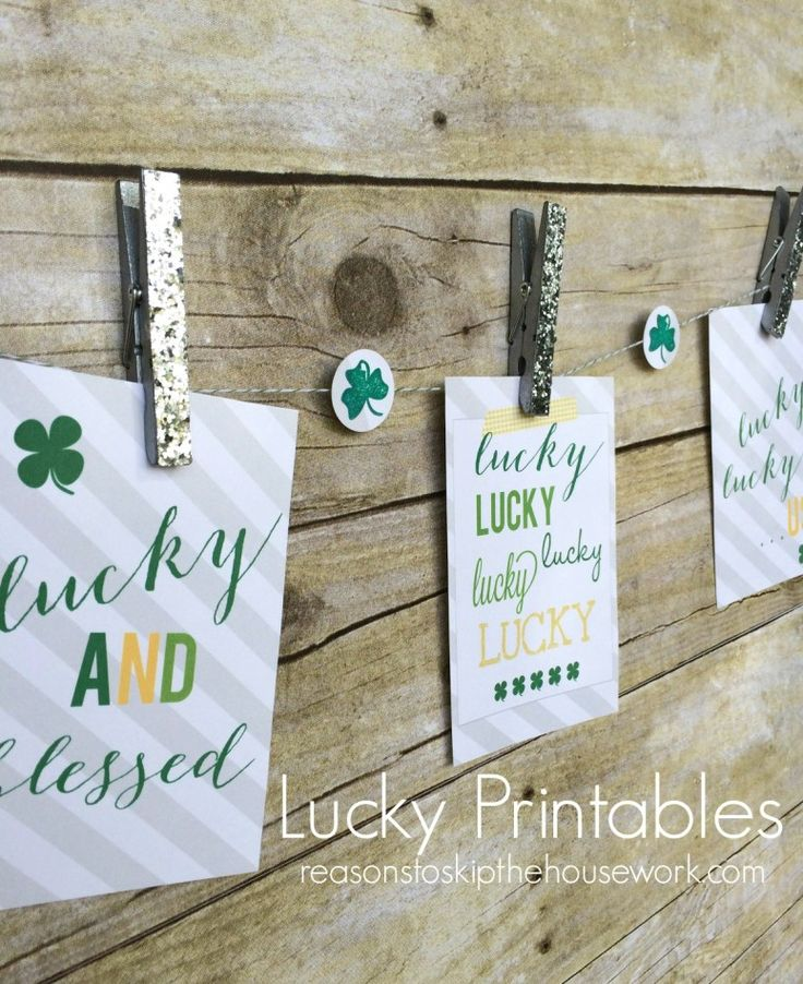 lucky printables via @Reasons To Skip The Housework reasonstoskipthehousework.com #printables