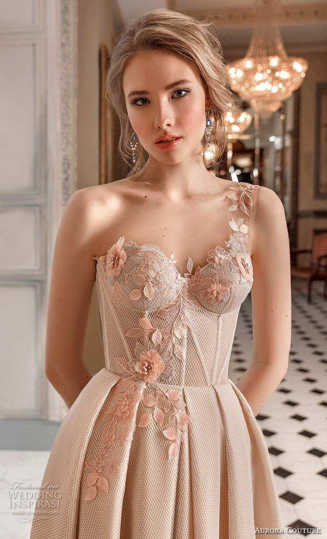 Aurora Couture 2019 Braut ein Schulter Schatz Ausschnitt leicht verschönert …   – Wedding dresses