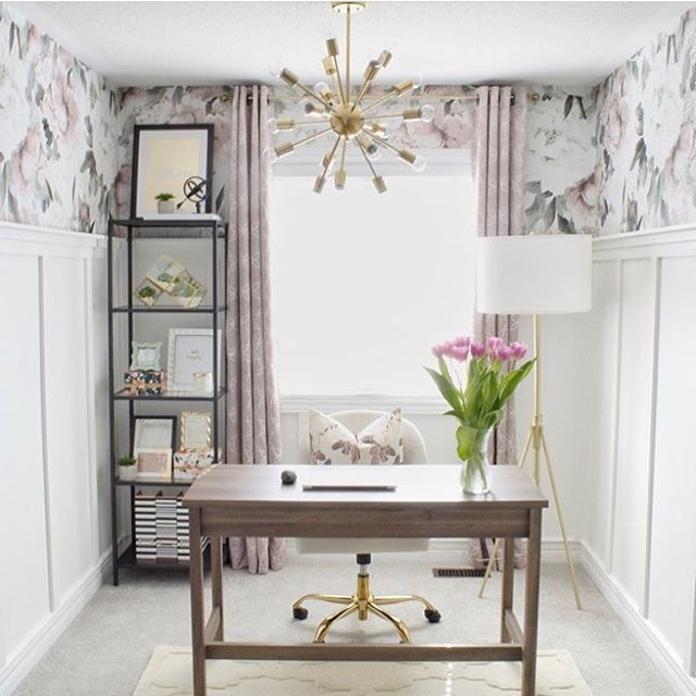 This Chic Space Is All Of The Officegoals Thanks Kmitchelldesignco For Using Our Queen Ann Wa Office Wall Decals White Wainscoting Nursery Wall Decals