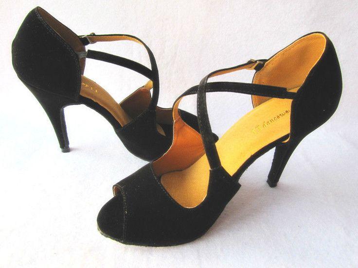 Black Suede Ballroom Shoes Salsa Latin Dance Shoes Tango Shoes Bachata Shoe