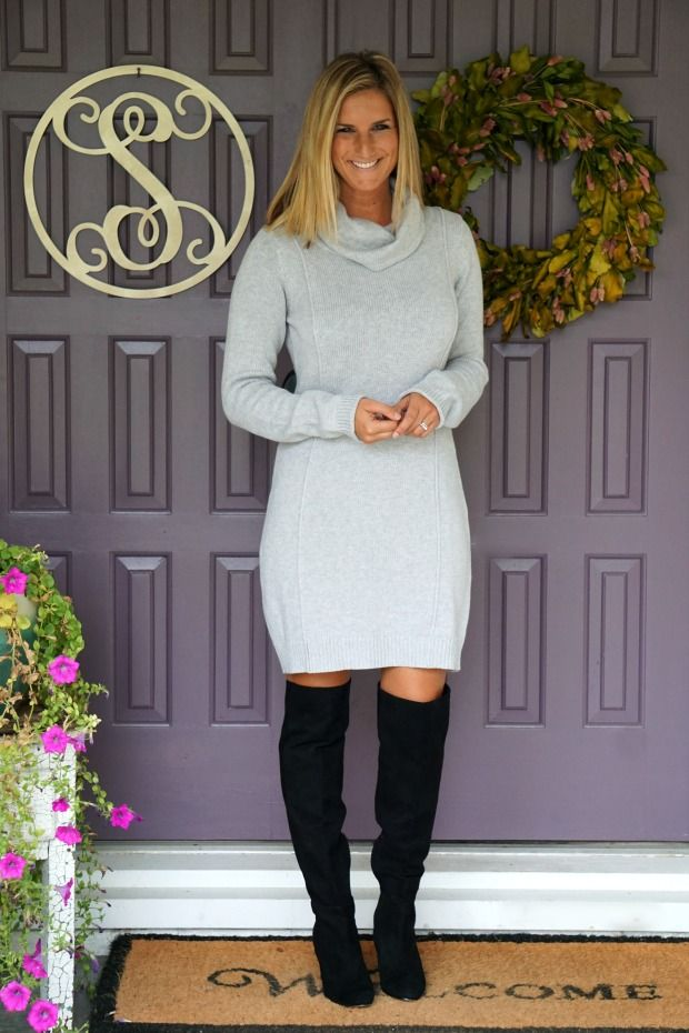 Stitch Fix Market & Spruce Gretal Sweater Dress and over the knee boots