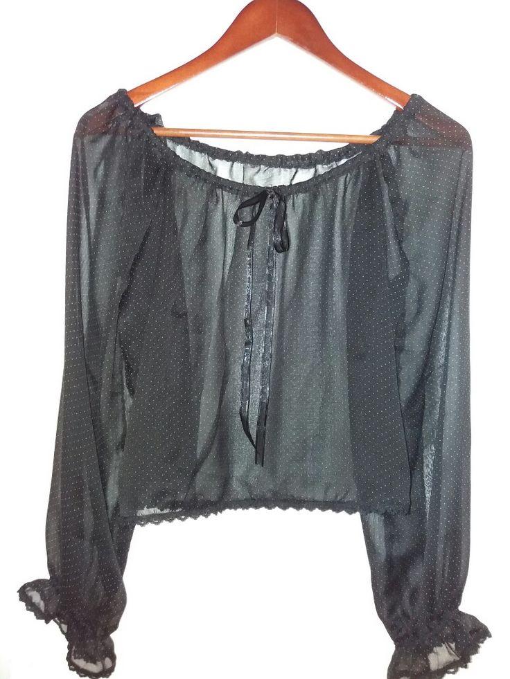 Blusa negra transparente