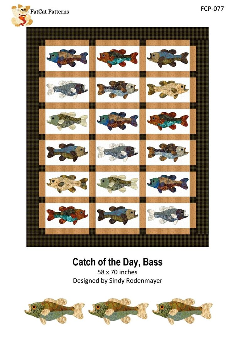 Catch of the day bass a fusible applique quilt pattern