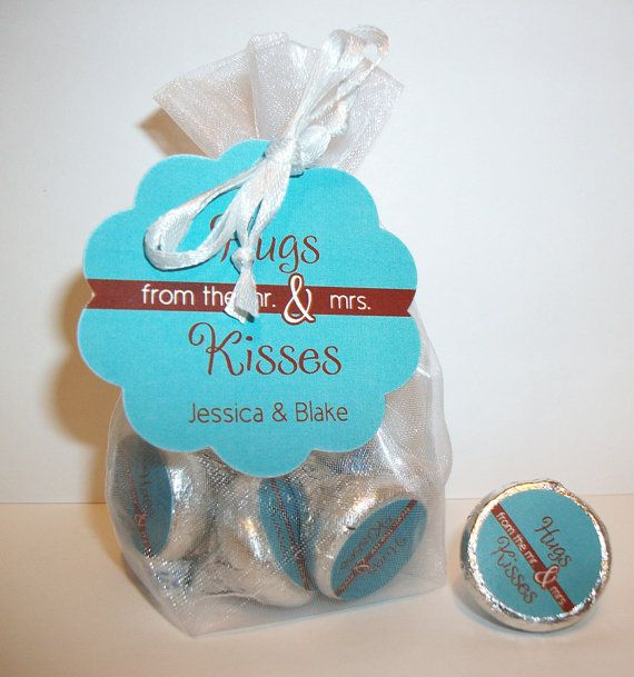 Wedding Favor Kit For Hershey S Kisses 61hugs Hugs And From The Mr Mrs Organza Bags Hang Tags On Etsy 12 00 Ideas Pinterest