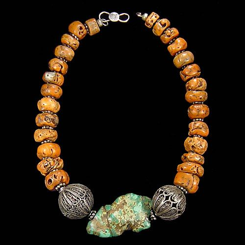Filigrane islamic silver bead, Egypt, 1.900/Old coral, Red Sea/Turquoise, Nepal