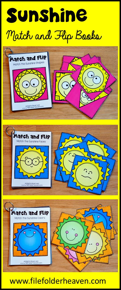 These Matching Activities: Sunshine Match and Flip Books focus on basic matching skills. In these activities, students work on matching picture to picture (or matching by emotion) matching by shape, and matching by color. There are four Match and Flip Books included in this download. Match the Sunshine Faces (Matching By Picture/Emotion) Match the Sunshine Shapes (Matching By Shape) Match the Sunglasses (Matching By Color) Match the Sunshine Colors (Matching By Color)