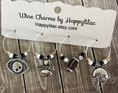 Football Wine Charms, Steelers Wine Charms, Beer Charms, Cocktail Glass ID, Pittsburgh Steelers, Wine, Beer, Football, Tailgate, Party Favor