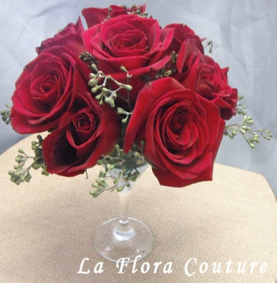 Red Roses Wedding, Burgundy, Martini Glass Centerpiece