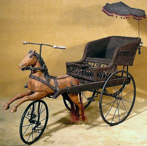 Victorian Child's Horse Carriage Tricycle